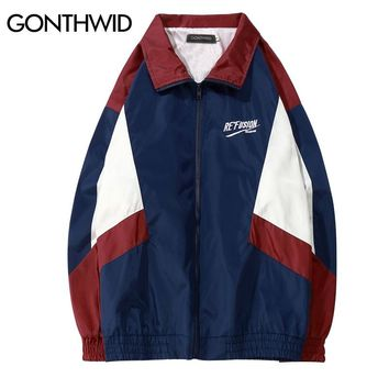 GONTHWID 2018 Vintage Color Block Track Jackets 90s Casual Embroidery Patchwork Windbreaker Full Zip Up Coats Hip Hop Streetwear