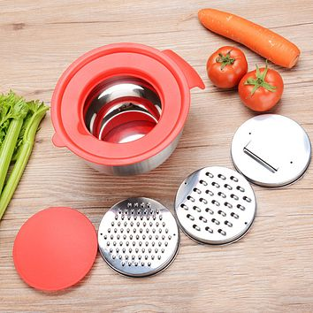 Silicon Rubber Handle Stainless Steel Bowl with Grater