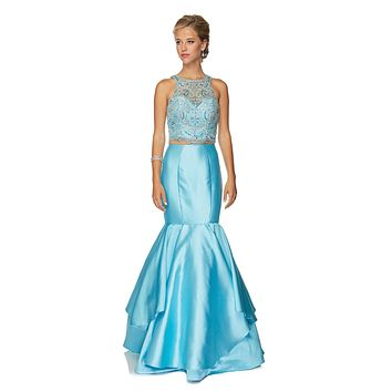 Juliet 631 Jewel Embellished Mermaid Style Two-Piece Prom Dress Turquoise