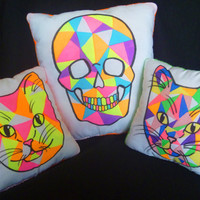 Neon Skull Pillow Geometric Design Medium Size