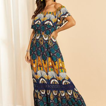 SBetro Tribal Print Off Shoulder Lace Insert Dress