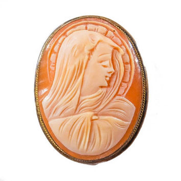 Antique Madonna Cameo Brooch with Silver Mounting