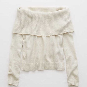 Aerie Off-The-Shoulder Sweater , Oatmeal Heather