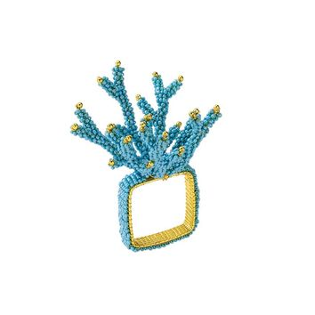 Coral Branch Napkin Rings In Turquoise S/4