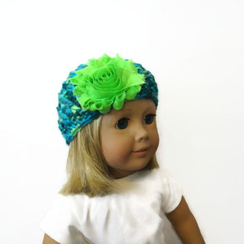 Doll Hat Beanie Green Blue 18 Inch Doll Clothes