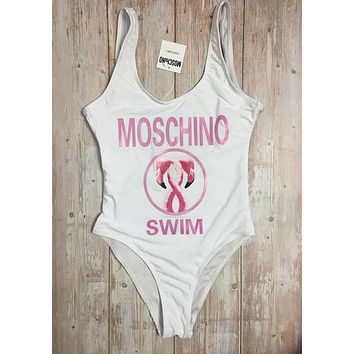 MOSCHINO One Piece Swimwear Bikini Set MOS04 White