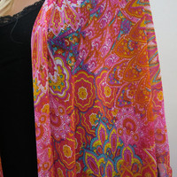 Floral Kimono cardigan Fuchsia, pink, orange, yellow, teal blue,chiffon-Layering piece-Many colors are coming
