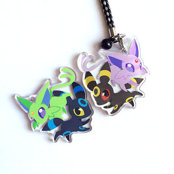 Eeveelutions Umbreon Espeon Acrylic Shiny Charm - Double-Sided Pokemon Keychain