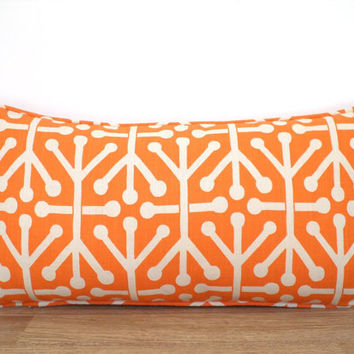 Orange trellis pillow case 20x12 dorm room decor, geometric sofa cushion, orange and natural lumbar pillow with piping, small bed pillow