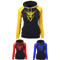 Pokemon Go Team Valor Team Mystic Team Instinct Lady Women Fit Hooded Sweatshirt