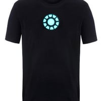 Tony Stark Light-Up Arc Reactor LED Iron Man 1 Black T Shirt--Size M