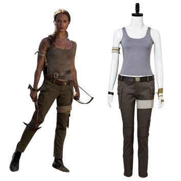 2018 Movie Tomb Raider Cosplay Lara Croft Cosplay Costume Outfit Full Set Halloween Carnival Custom Made Any Size