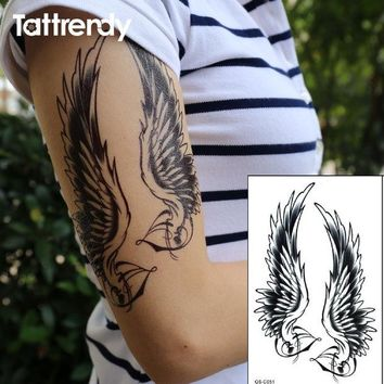 ac NOOW2 Flash Black Tattoo Waterproof Women Sexy Shoulder Arm Angel Wings Fake Temporary Tattoos Stickers for men on body painting C051