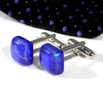 Square Bright Blue and Purple Cufflinks, Fused Dichroic Glass, Guy Husband or Best Man Gift