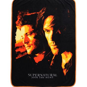 Licensed cool CW SUPERNATURAL Orange Filter Sam & Dean WARM COZY SUPER SOFT  THROW BLANKET NEW