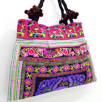 Thai Hill Tribe Bag Pom Pom Hmong Embroidered Ethnic Purse Woven Bag Hippie Bag Hobo Bag Boho Bag Shoulder Bag: Violet Purple