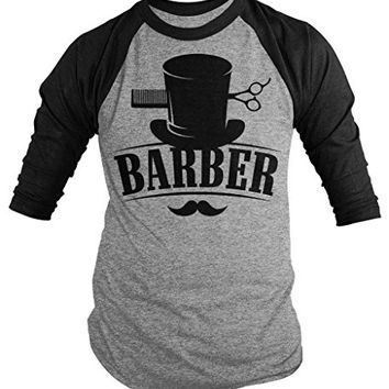 Shirts By Sarah Men's Barber Shirt Top Hat Vintage Hipster Mustache 3/4 Sleeve Shirts (Black/Gray Small)