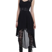 Royal Bones By Tripp Black Chiffon Hi-Lo Dress