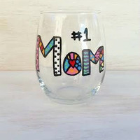 #1 Mom colorful handpainted stemless wine glass