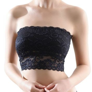 None Lingerie Soft Strapless Sexy Ladies Seamless H7 Bra 2018 Women Padded Cosy Crop Crop Lace Casual Girl Bra Top Bra