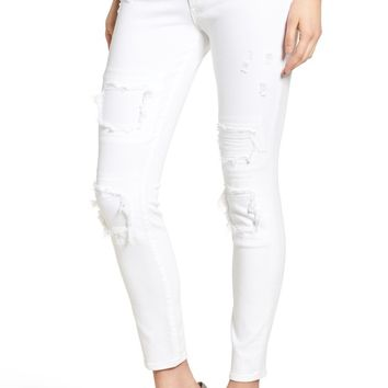 True Religion Brand Jeans Halle Skinny Jeans (Optic White Patch Ripped) | Nordstrom