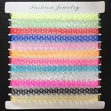 Mix 12 colors 12 Pcs/pack Tattoo rainbow chokers Necklace Vintage Stretch Quarz Elastic Henna Gothic Punk Elastic Women jewelry