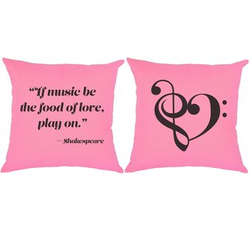 Music is the Food of Love Shakespeare Quote Throw Pillows