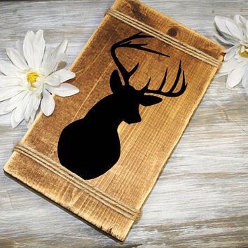 Wood Sign, Antler Deer Wall Mount Rustic Wood Sign, Boho Indie home decor, birthday gift for her, rustic home decor, Shabby Bedroom, Buck