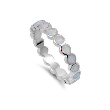 Sterling Silver Round Opal Inlay 4mm Band - White