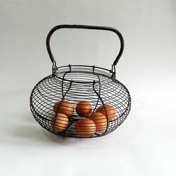 Wire Egg Basket Rustic Metal Vintage French Farmhou