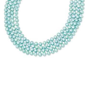 5.5-6mm FW Cultured Blue Pearl Single Strand Necklace QH2292