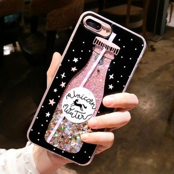 LANCASE For iPhone 7 Case Dynamic liquid glitter Coque For iPhone 7 Plus For iPhone 6 case 6s plus Cover Drink Bottle quicksand