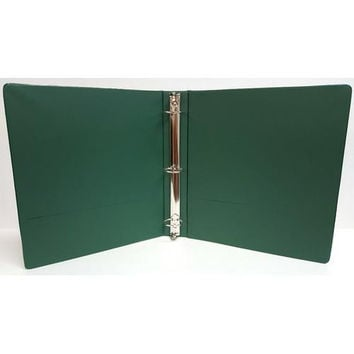 "1"" Basic 3-Ring Binder w/ Two Inside Pockets - Green"