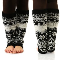 Snowflakes are Falling Leg Warmers in Black