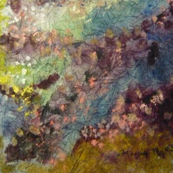 Original landscape painting watercolor batik on rice paper, canary yellow, violet 17x17 inches distressed look vintage-like