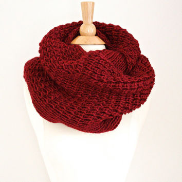 Knitted Scarf, Burgundy Chunky Infinity, Winter, Cozy Burgundy Loop Scarf, Stocking Stuffer Winter Women Accessories Scarves Holidays
