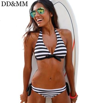 DD&MM Bikini Women Halter Swimsuits 2018 New Stripe Brazilian Bikini Set Plus Size Swimwear V Neck Bathing Suit Female Biquini