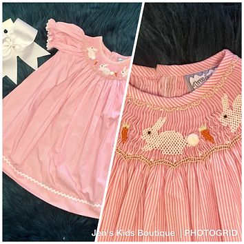 Three Sisters Sweet Baby Pink Bunny Easter Dress