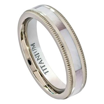 5mm Titanium Ring Pipe Cut Milgrain Edge with Creamy Pinkish Hued Mother of Pearl Inlay