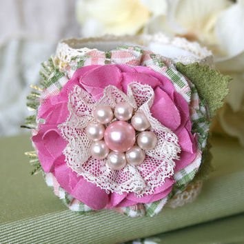Textile Jewelry Corsage Bracelet - Pink, Yellow and Green