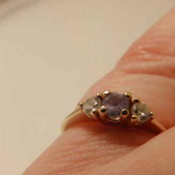 10K Yellow Gold Tanzanite and Diamond Ring Size 4.5