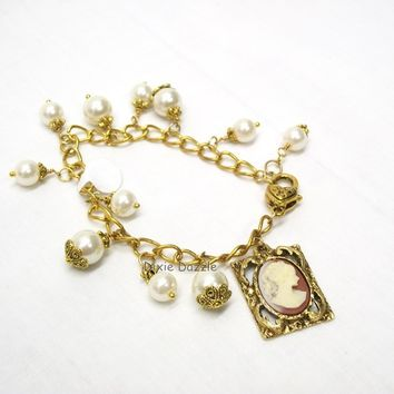 Victorian lady cameo charm bracelet, cameo and pearls, pearl jewelry, vintage (1980's) setting, unique gift, stocking stuffer, large clasp.