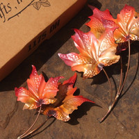 NOS Metal Maple Fall Leaves Home Interior  Wall Hangings Home Decor 2pc 1175