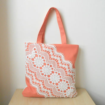 Salmon pink tote bag, canvas and lace tote bag, summer tote bag, lace bag, salmon pink shoulder bag