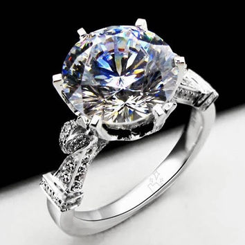 Luxury 5Ct Round Cut Moissanite Wedding Engagement Anniversary Ring Solid 14K White Gold H55