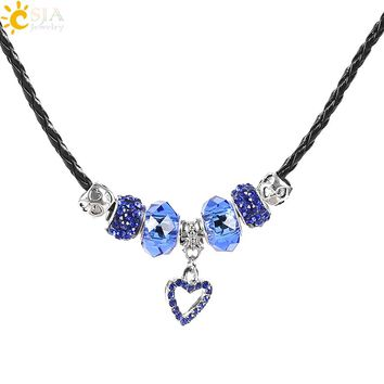 CSJA Leather Necklace for Women Blue Murano Glass Beads Rhinestone Fit Love Heart Pendant Maxi Statement Choker Necklaces E718