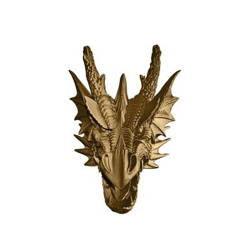 The Drogon | Large Dragon Head | Faux Taxidermy | Bronze Resin