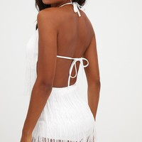 White Tassel Playsuit