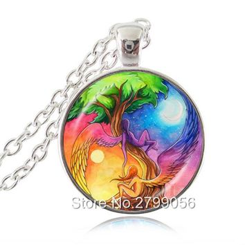 Reiki Angel Necklace Tree of Life Pendant Sun and Moon Ying Yang Jewelry Glass Cabochon Silver Long Chain Statement Necklace
