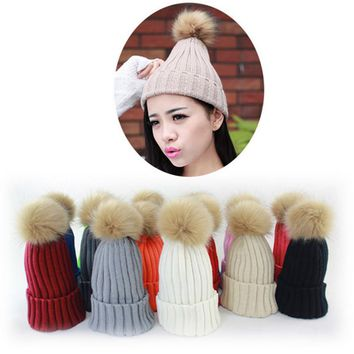 Female Beanies Knit Women's Winter Hat Caps Skullies With Fur Ball Winter Hats For Women Beanie Outdoor Ski Sports Warm Cap